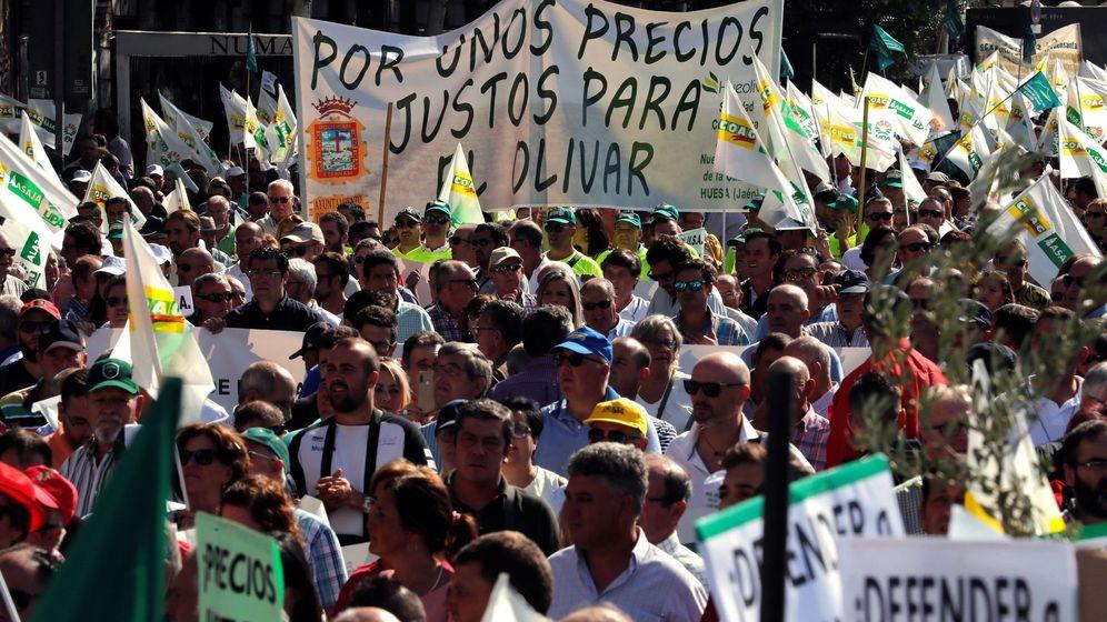 Foto: Manifestación de olivareros en Madrid la semana pasada. (EFE)