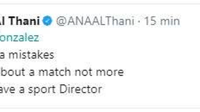 Mensaje que Al Thani borró de su Twitter.