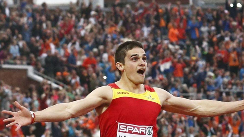 Foto: Bruno Hortelano, en la final de los 200 metros del Europeo. (EFE)
