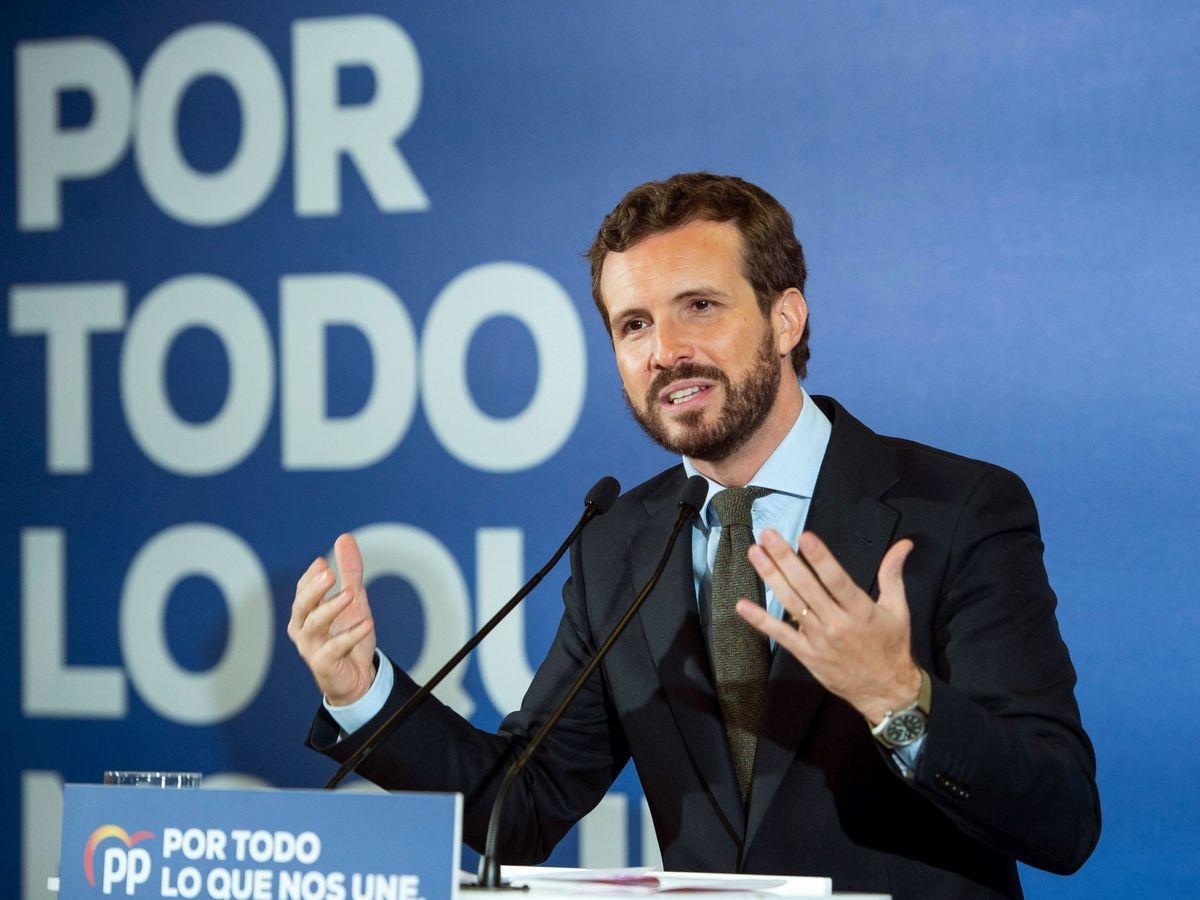 Foto: El líder del PP, Pablo Casado, en un acto electoral. (EFE)