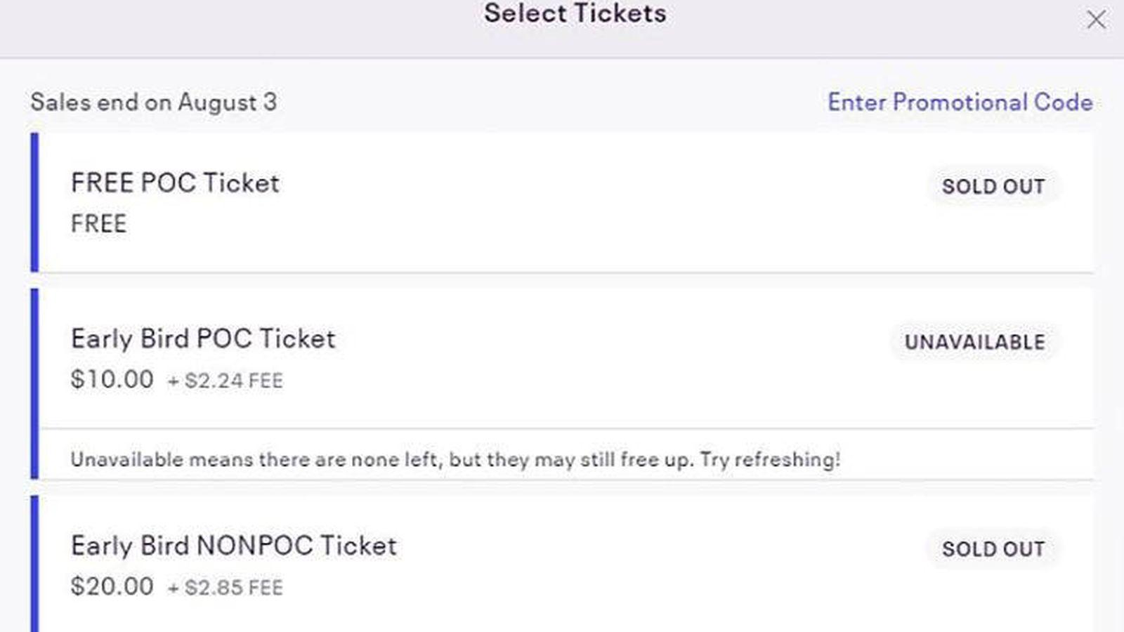 Foto: Los precios para las entradas anticipadas eran de 10 dólares para negros y 20 para blancos (Foto: Eventbrite)