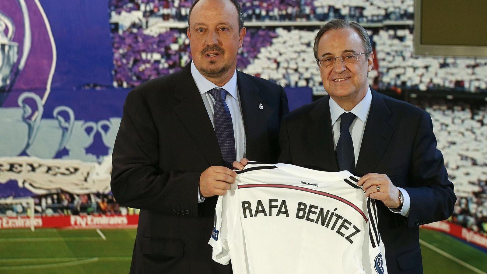 Foto: Florentino Pérez y Rafa Benítez, en la presentación del técnico como entrenador del conjunto blanco.