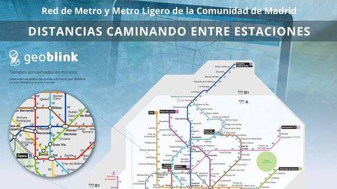 Un nuevo mapa del Metro de Madrid calcula el tiempo entre estaciones  a pie