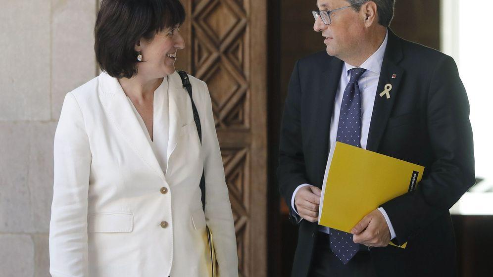 Foto: El presidente catalán, Quim Torra, y  la presidenta de la ANC, Elisenda Paluzie. (EFE)