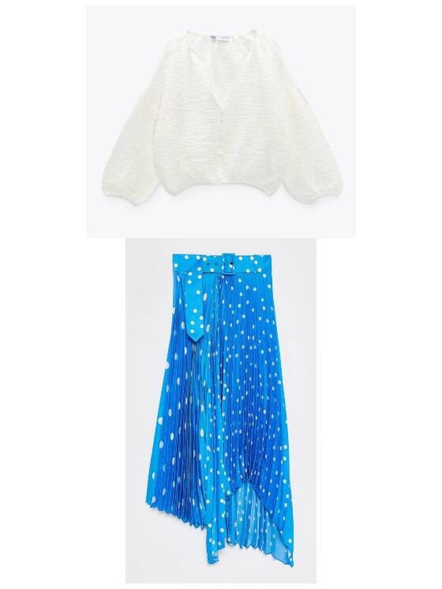 Blusa blanca de Zara y falda plisada de Sfera. (Cortesía)