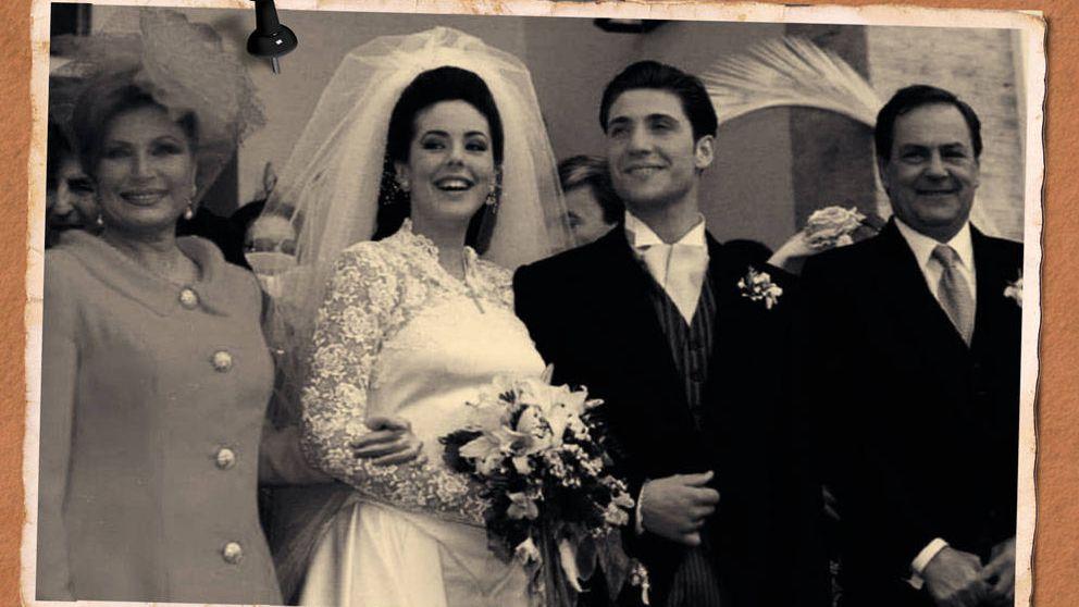Lentillas azules y pelo postizo: la primera boda de Rocío Carrasco