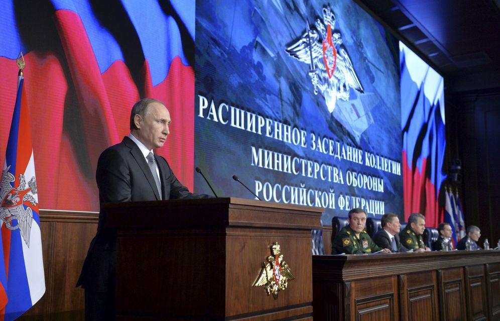 Foto: El presidente de Rusia durante una conferencia de prensa en el Ministerio de Defensa, en Moscú, el 11 de diciembre de 2015 (Reuters).