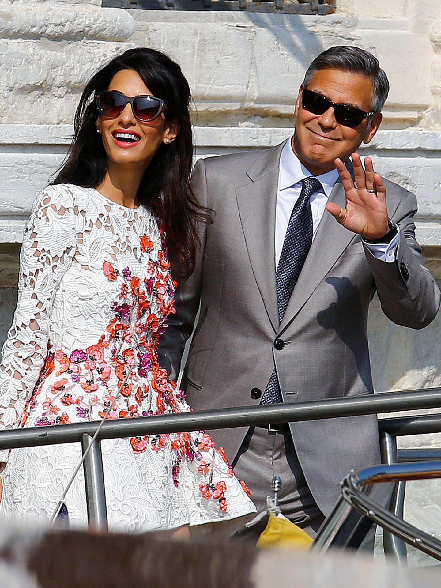 George Clooney y Amal Alamuddin en Venecia en 2014. (Reuters)