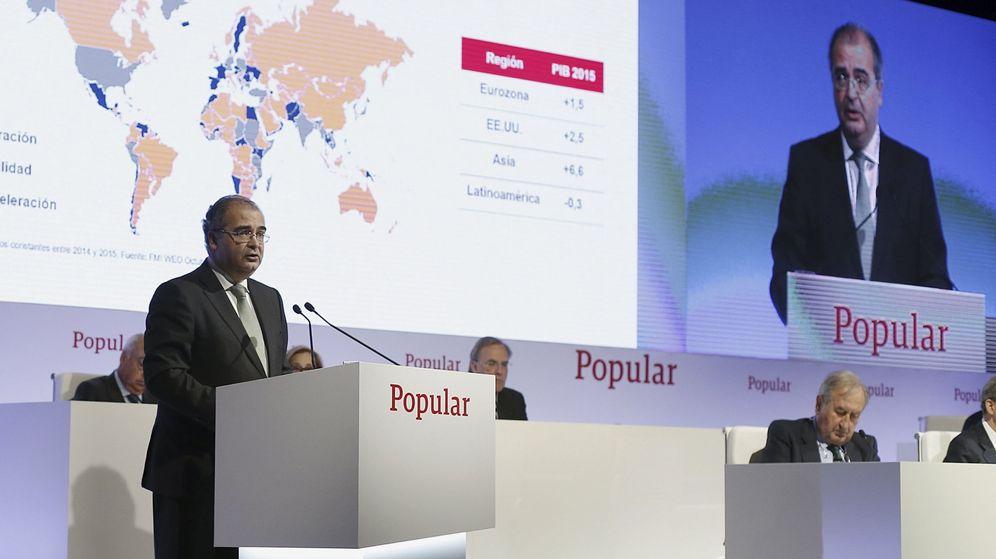 Foto: Ángel Ron, en la última junta de accionistas del Banco Popular. (EFE)