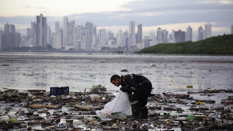 Un activista recoge desperdicios en la Bahía de Panamá el 23 de octubre de 2018, en Ciudad de Panamá (Panamá). (EFE)