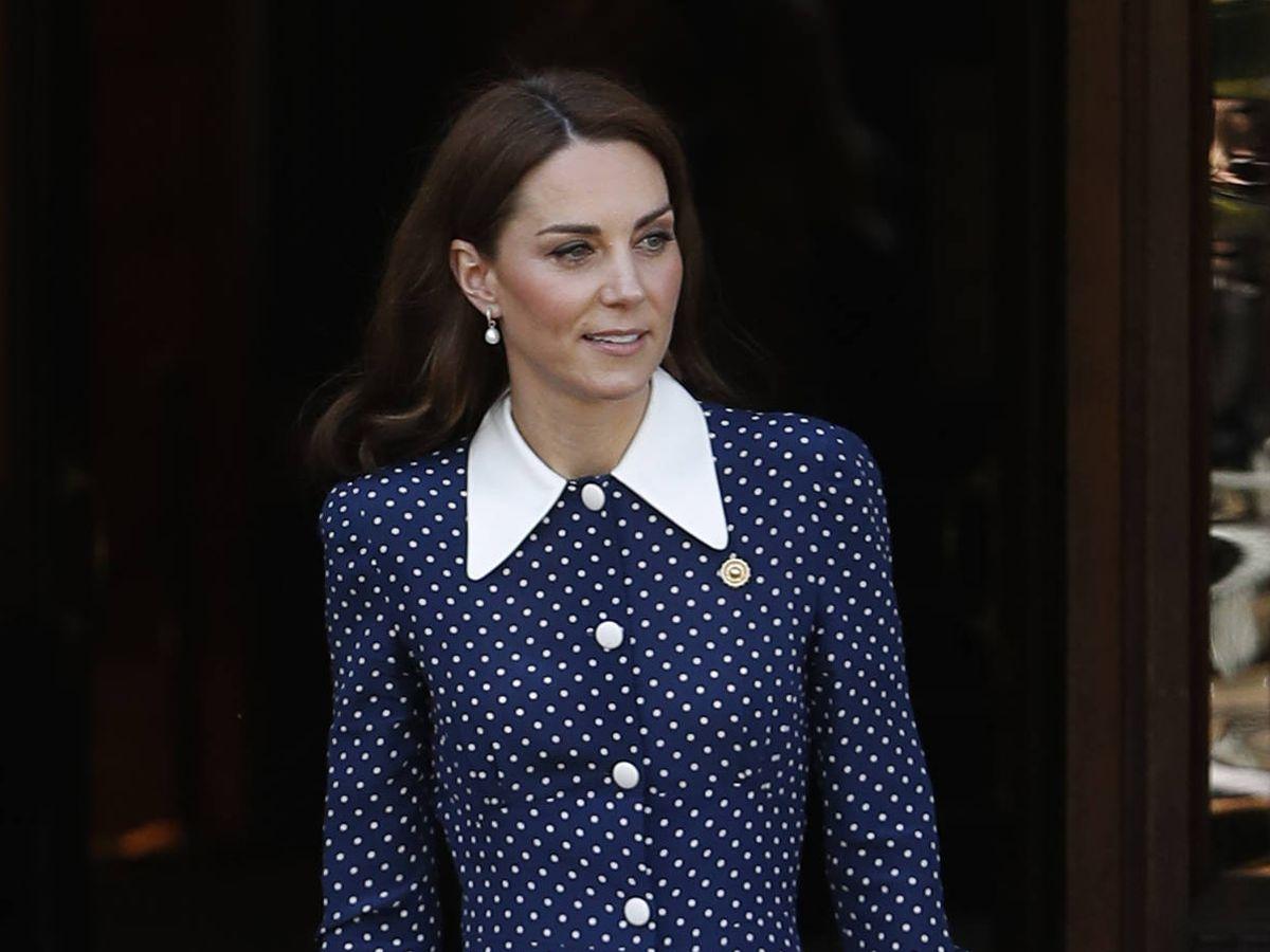 Foto: Kate Middleton, con vestido de lunares. (Getty)
