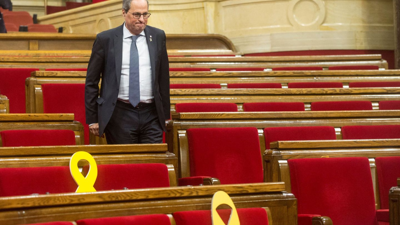 El presidente de la Generalitat, Quim Torra, en el Parlament. (EFE)