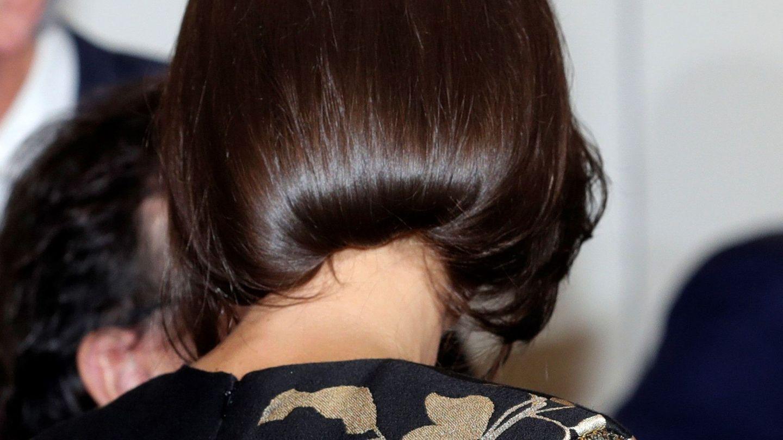 Detalle de la nuca del peinado de Letizia.  (EFE)