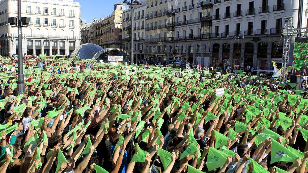 Foto: Miles de simpatizantes, en la Puerta del Sol. (EFE)