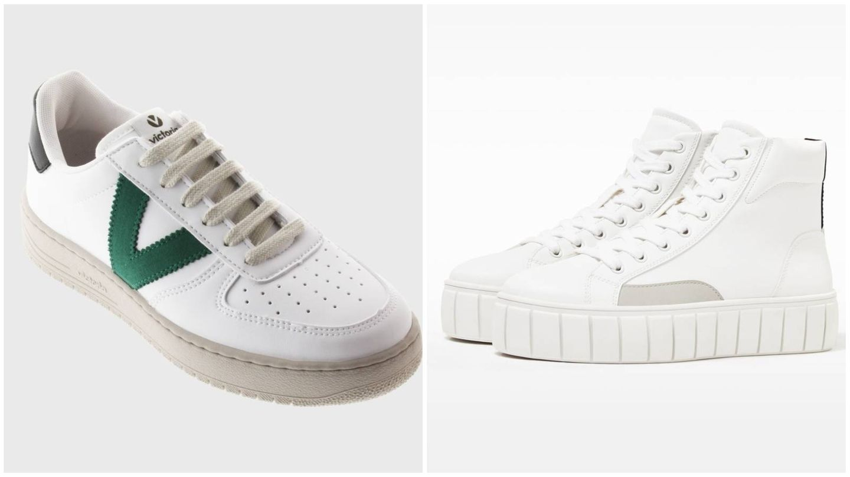 Zapatillas deportivas de Victoria y Bershka. (Cortesía)