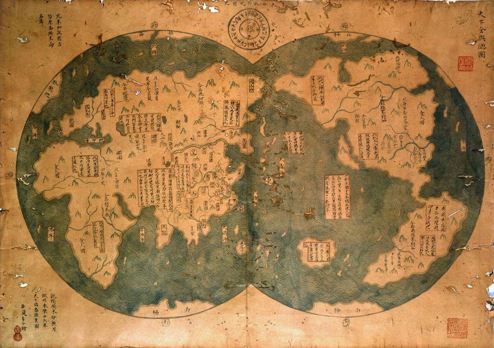 Foto: El controvertido mapa de Zheng He en el que se aprecia el continente americano.