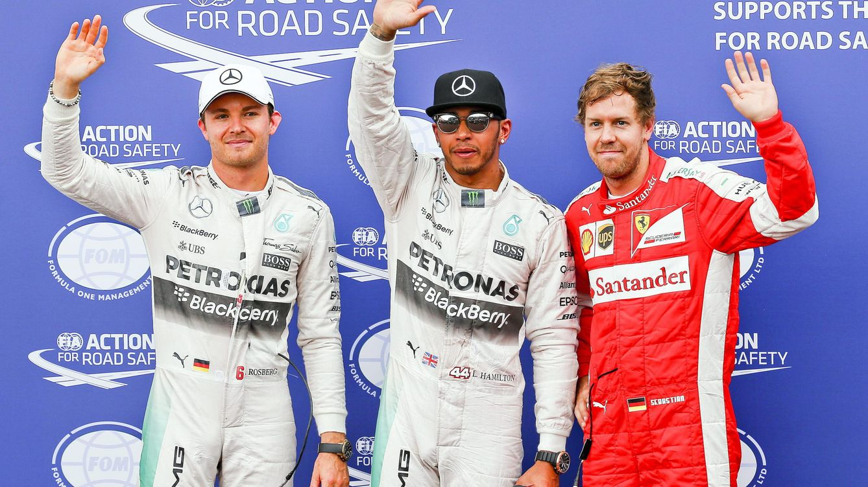 Foto: Nico Rosberg, Lewis Hamilton y Sebastian Vettel (Efe)