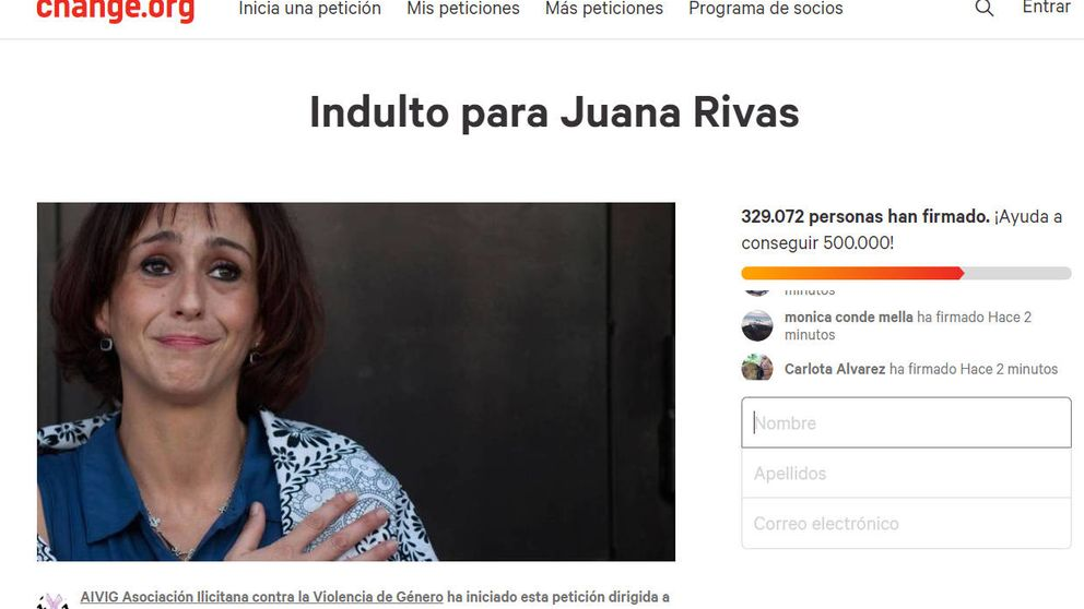 Más de 325.000 personas piden el indulto para Juana Rivas en change.org