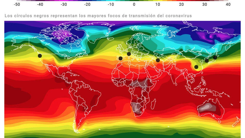 Mapa extraído de la investigación del Instituto de Virología Humana de la Universidad de Maryland que prueba que el coronavirus sobrevive mejor en una cierta temperatura, humedad relativa y latitud.
