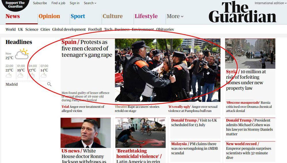 Foto: Portada web de 'The Guardian' este jueves por la tarde.