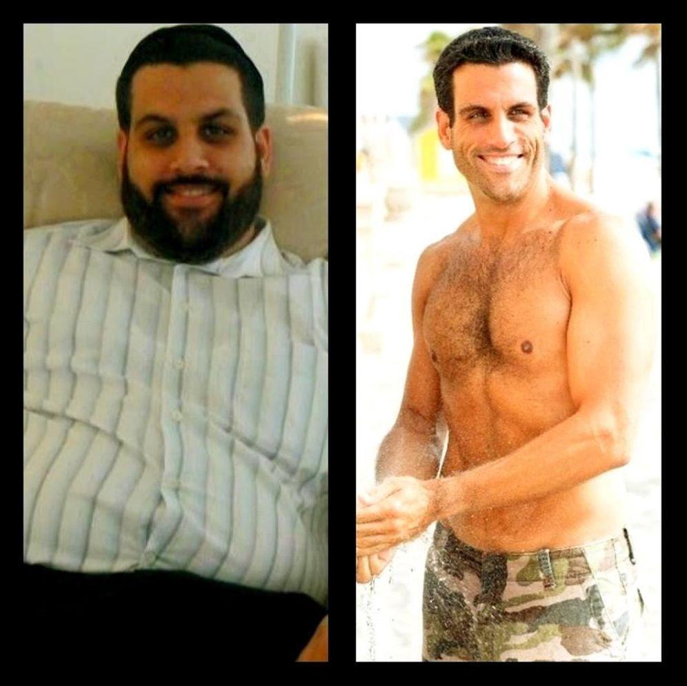 Foto: Eli Sapharti, antes y después de su viaje hacia la pérdida de peso. (Facebook / FAT Boy FIT Man)