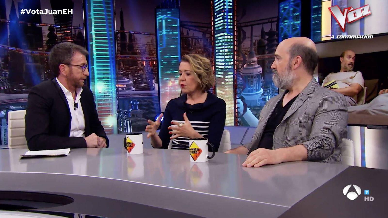 Foto: María Pujalte y Javier Cámara en 'El Hormiguero'. (Atresmedia)