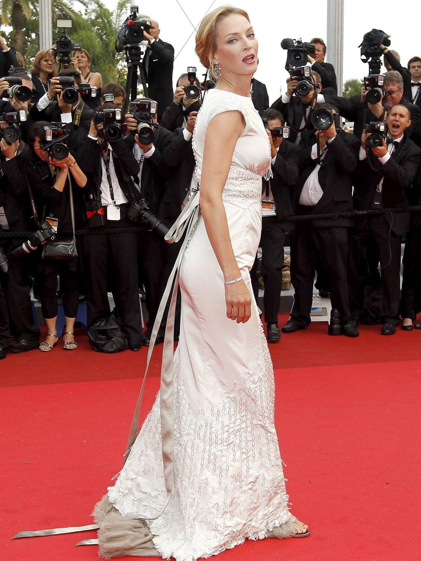 La actriz estadounidense Uma Thurman,  en el Festival de Cannes 2011. (EFE)