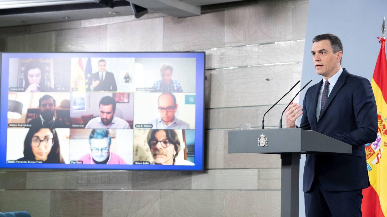 Foto: Pedro Sánchez, durante su rueda de prensa telemática en la Moncloa de este 18 de abril de 2020. (Borja Puig | Pool Moncloa)