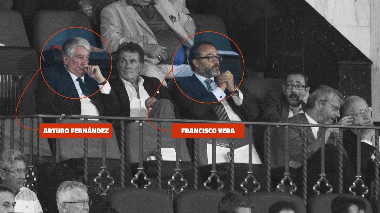 Foto: De izquierda a derecha, Arturo Fernández, Enrique García Candelas, vicepresidente de Santander Totta, Francisco Vera, administrador concursal del Grupo Cantoblanco, y el juez Alfonso Guevara.