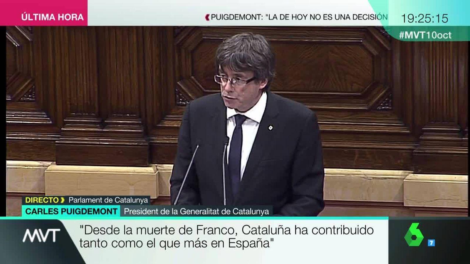 Foto: Carles Puigdemont, durante su comparecencia en el Parlament.