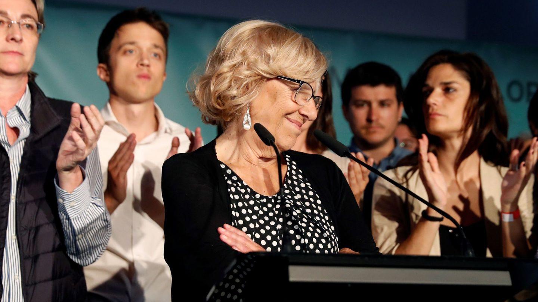 Manuela Carmena, durante su comparecencia para valorar los resultados de las elecciones al Ayuntamiento. (EFE)