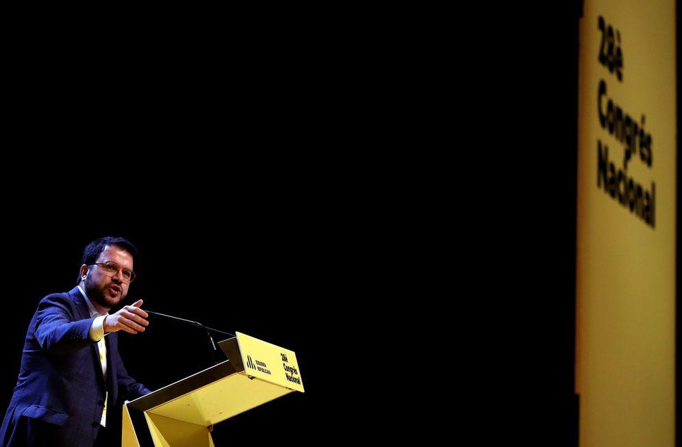 Foto: Pere Aragonès, coordinador nacional de ERC y 'vicepresident' del Govern, el pasado 21 de diciembre en el congreso de su partido. (EFE)