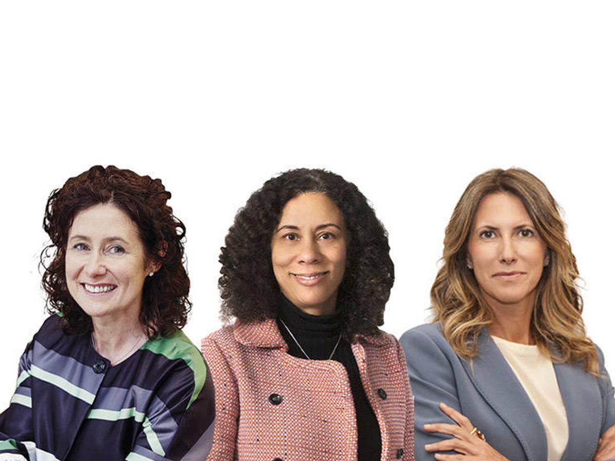Foto: Las candidatas a 'senior partner' global de Linklaters, Aedamar Comiskey, Sarah Wiggins y Claudia Parzani (de izquierda a derecha).
