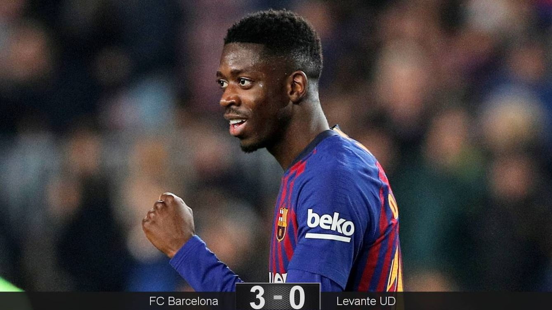 Foto: Dembélé marcó los dos primeros goles del Barcelona ante el Levante. (Reuters)