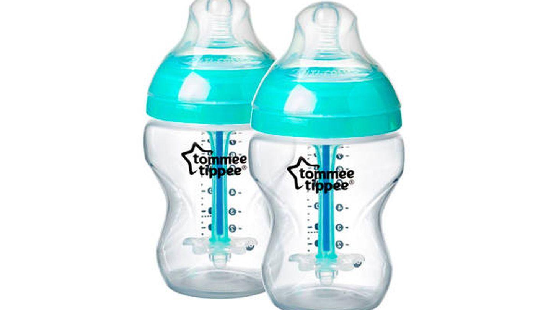 Set de dos biberones sensibles al calor y con pajita anticólicos Tommee Tippee
