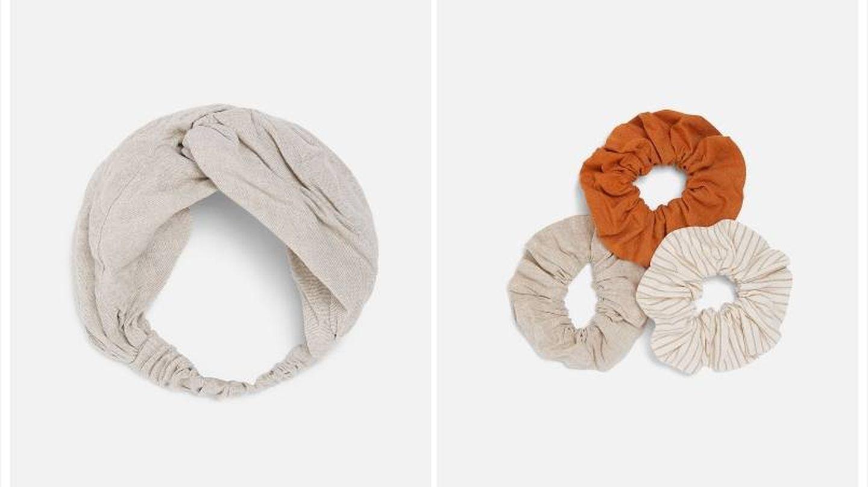 Coleteros de lino y algodón (el pack de tres) y la diadema en el mismo tejido (ambas 7,95 euros).