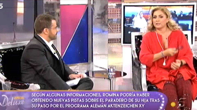 Jorge Javier Vázquez y Romina Power, en 'Sálvame Deluxe' en 2011. (Mediaset España)