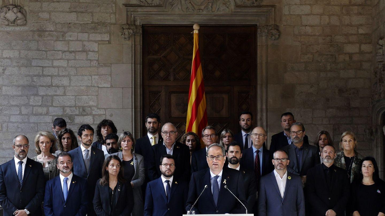 Comparecencia del presidente de la Generalitat, Quim Torra, tras la lectura de la sentencia. (EFE)