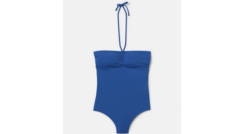 Bañador bandeau de mujer liso en color azul