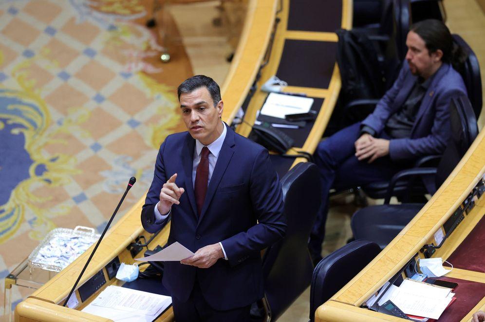 Foto: Pedro Sánchez, con el vicepresidente, Pablo Iglesias, durante la sesión de control al Gobierno en el Senado este 16 de junio. (EFE)