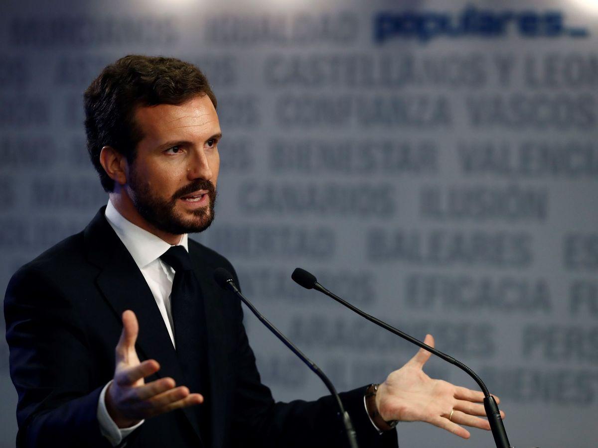 Foto: El presidente del PP, Pablo Casado, durante su rueda de prensa del lunes. (EFE)