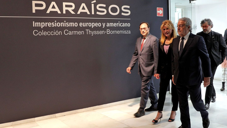 La baronesa Thyssen, inaugurando una de las exposiciones de su colección. (EFE)