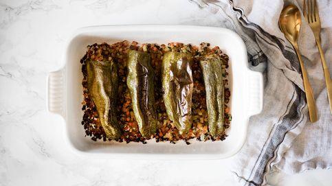 Pimientos verdes rellenos de serrano y hortalizas, una combinación ganadora