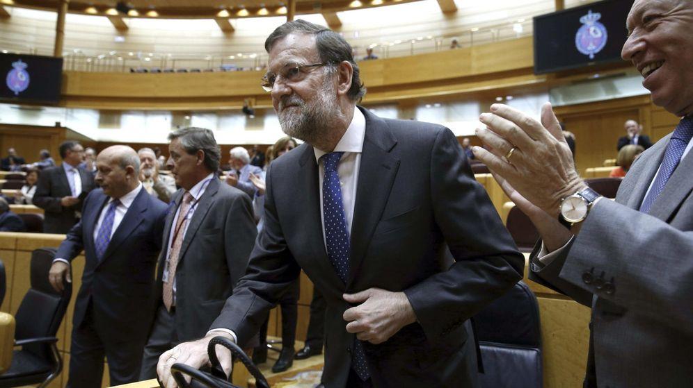 Foto: El presidente del Gobierno, Mariano Rajoy, durante su intervención en el Senado. (EFE)