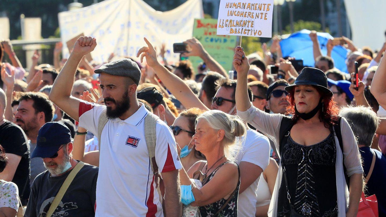 Manifestación de negacionistas en Madrid en agosto de 2020