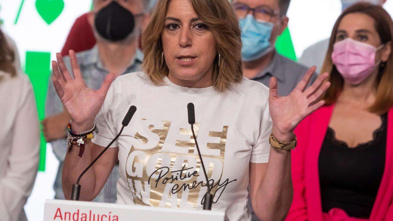 Susana Díaz atiende a los medios de comunicación en la sede del PSOE-A. (EFE)