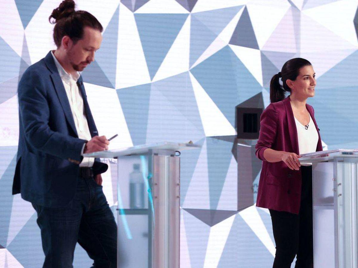 Foto: Iglesias y Monasterio, en el primer debate. (Telemadrid)