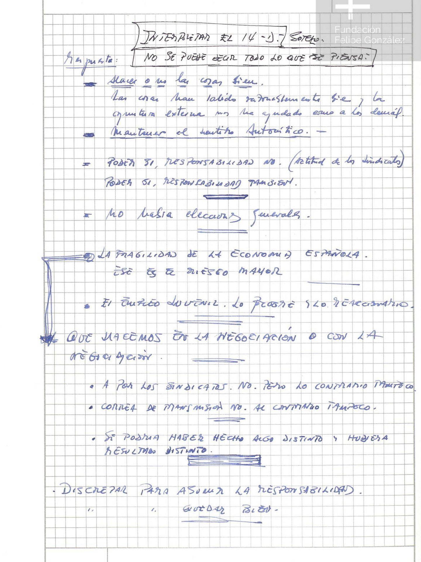 Pinche para leer las notas manuscritas de Felipe González sobre el 14-D. (Fundación Felipe González)