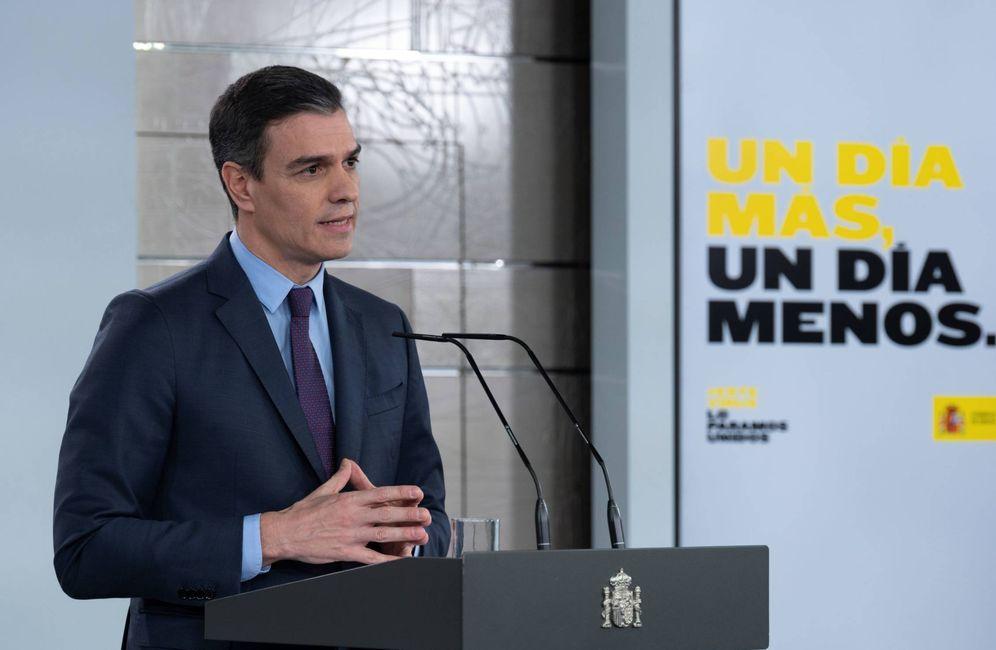 Foto: Pedro Sánchez, durante su comparecencia en la Moncloa este 4 de abril. (Borja Puig | Moncloa)