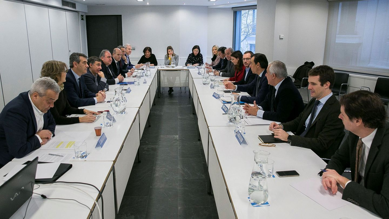 Reunión de coordinación del PP en la que se ha preparado la junta directiva nacional del 15 de enero.
